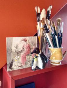 card penguin brushes